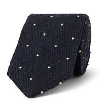 Drakes Drake's 8.5Cm Embroidered Polka Dot Slub Silk Tie Blue