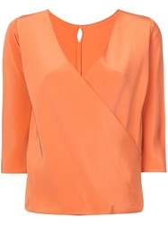 Peter Cohen Wrap Front Blouse Yellow And Orange