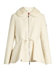 Moncler Gamme Rouge Detachable Fur Collar Wool Blend Cloque Jacket White