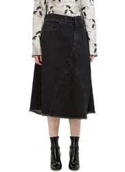 Marc Jacobs Mid Length Folded Denim Skirt Grey