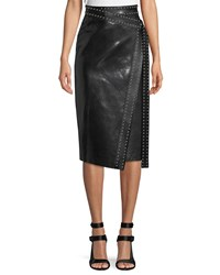 Alexander Mcqueen Python Embossed Lamb Leather Midi Wrap Skirt W Studs Black Silver