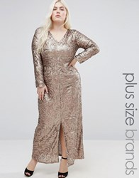 Club L Plus Sequin Maxi Dress With Plunge Neck Pewter Grey
