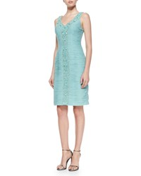Sue Wong Sleeveless V Neck Ruched Cocktail Dress Seafoam