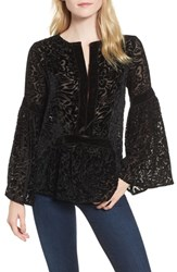 Kas New York Velvet Burnout Bell Sleeve Peasant Top Black