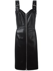 Givenchy Faux Leather Buckle Strap Dress Black