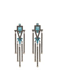 Valentino Crystal Embellished Clip On Earrings Blue