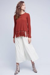 Anthropologie Cropped Linen Wide Legs Ivory