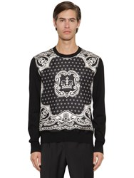 Dolce And Gabbana Silk Twill Virgin Wool Knit Sweater Black