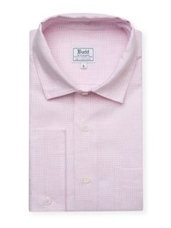 Budd Shirtmakers Small Gingham Check Casual Linen Shirt In Pink