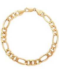 Macy's Men's Figaro Link Bracelet In 10K Gold Yellow Gold