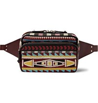 Valentino Beaded Twill And Leather Belt Bag Burgundy