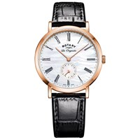 Rotary Ls90193 41 Women's Les Originales Leather Strap Watch Black White