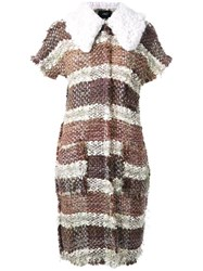 Lalo Striped Tweed Vest Brown