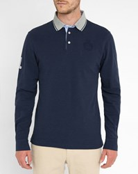 Hackett Navy Embroidered Logo Elbow Patch Ls Polo Shirt Blue