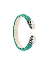 Bulgari Snake Head Cuff Bracelet Green