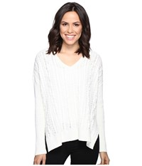 Michael Stars Alpine Knit V Neck Cable Knit Sweater Ivory Women's Sweater White