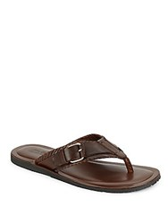 Saks Fifth Avenue Made In Italy Leather Thong Sandals Marrone