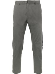 Lot 78 Lot78 Striped Cropped Chinos Grey
