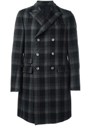 Ermenegildo Zegna Checked Double Breasted Coat Grey