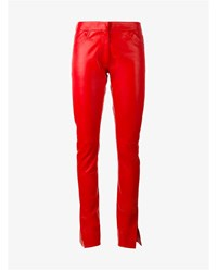 Loewe Leather Trousers With Split Hems Red Black White