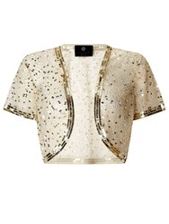 Ariella Vera Sequin And Beaded Bolero Gold