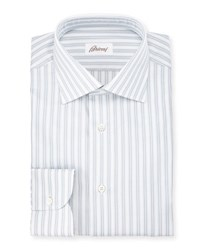 Brioni Oxford Stripe Dress Shirt White