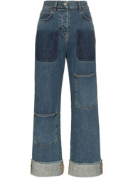 J.W.Anderson Jw Anderson Patch Detail Rolled Up Jeans Blue