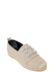 Roger Vivier 20Mm Swarovski Cotton Canvas Espadrilles