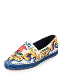 Dolce And Gabbana Printed Canvas Flat Espadrille Multi
