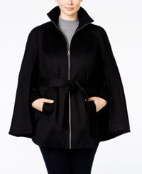 Laundry By Shelli Segal Plus Size Zipper Front Belted Cape Coat Only At Macy's Black