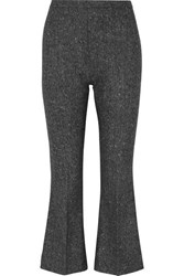Antonio Berardi Cropped Wool Tweed Flared Pants Gray