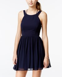 City Triangles Juniors' Strap Detail Fit And Flare Dress