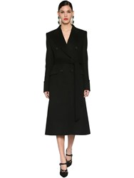 Dolce And Gabbana Double Breasted Virgin Wool Coat Black