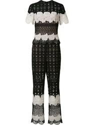 Yigal Azrouel Two Tone Lace Jumpsuit Black