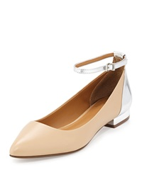 Report Signature Simka Colorblock Leather Ankle Wrap Flat Nude Silver