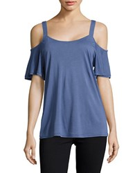 Ck Calvin Klein Ruffled Cold Shoulder Top Blue