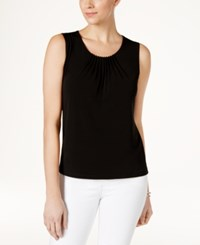 Kasper Pleat Neck Shell Black
