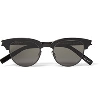 Saint Laurent D Frame Acetate And Gunmetal Tone Sunglasses Black