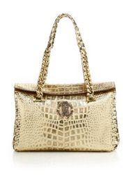 Roberto Cavalli Regina Croc Embossed Metallic Leather Satchel Gold