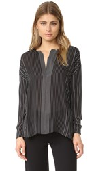 Vince Striped Covered Placket Blouse Black Chalk