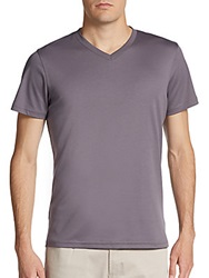 Saks Fifth Avenue Red Cotton V Neck Tee Pewter