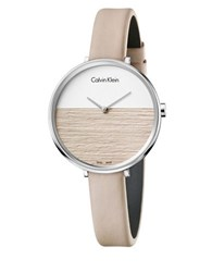 Calvin Klein Rise Stainless Steel Leather Strap Watch Beige Leather