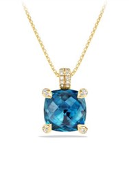 David Yurman Chatelaine Pendant Necklace With Hampton Blue Topaz And Diamonds In 18K Gold Chrysoprase Cabochon Garnet Citrine Gold Turquoise