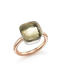 Pomellato Nudo Maxi Ring With Prasiolite In 18K Rose And White Gold Green Rose