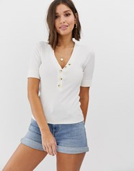 Abercrombie And Fitch Henley Top With Button Detail Cream
