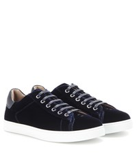 Gianvito Rossi Low Top Velvet Sneakers Blue
