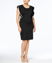 Love Squared Trendy Plus Size Ruffled Bodycon Dress Black