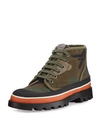Valentino Camouflage Canvas High Top Sneaker Multi