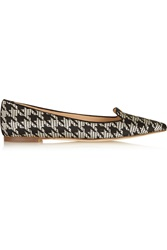 J.Crew Houndstooth Jacquard Point Toe Flats Black