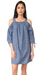 Madewell Chambray Cold Shoulder Dress Erica Wash